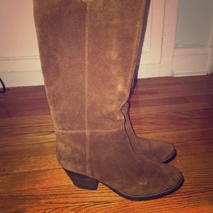 Brown suede western style boots